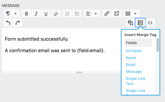 Email & Actions Success Message Insert Merge Tag Ninja Forms 3