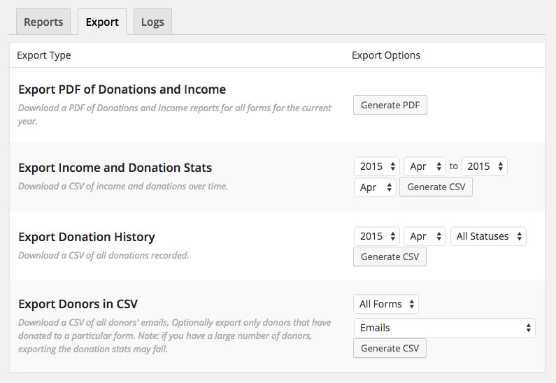 Give Donation WordPress Plugin - Reports Export