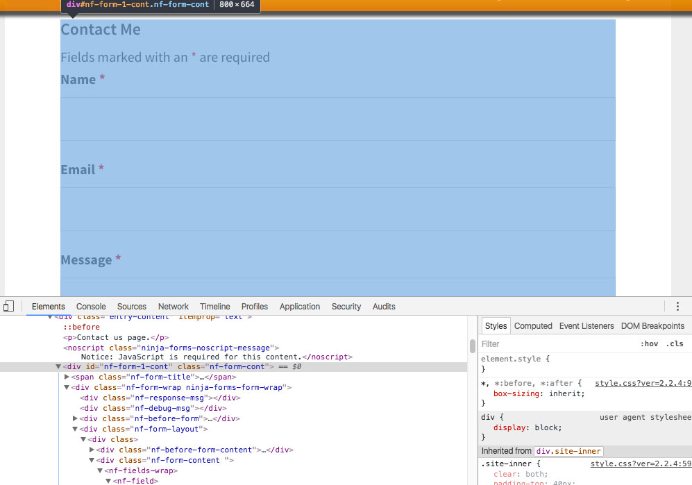 Ninja-Forms - HTML and CSS of the Contact Me form seen in Inspect code view