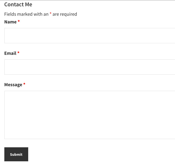 Ninja Forms Contact Me form template seen in a preview page.