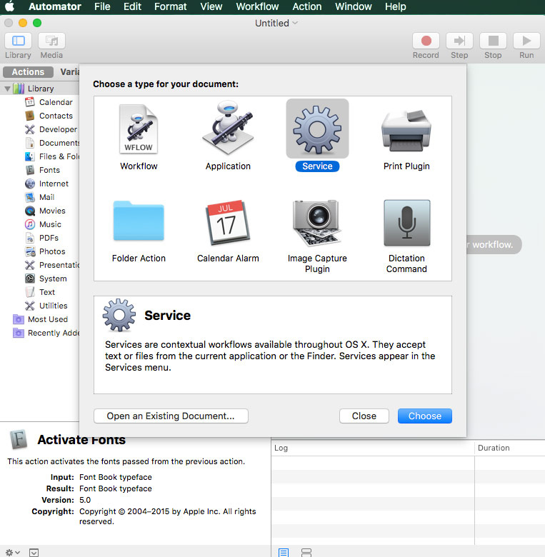 New file in Automator select - Service