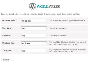 WordPress Installation Screen with Database, user name, password host and table prefix
