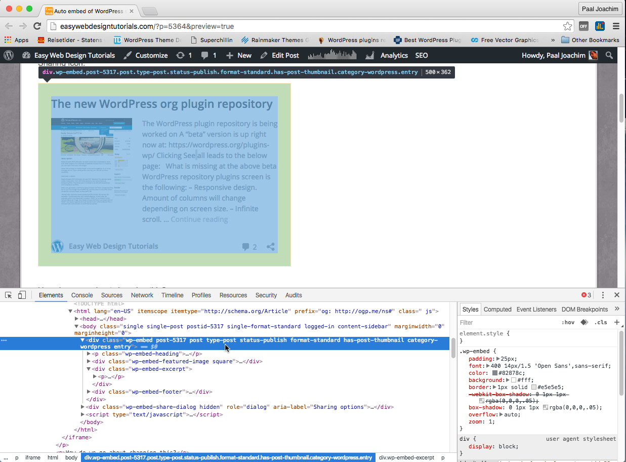 how to show the html code in wordpress