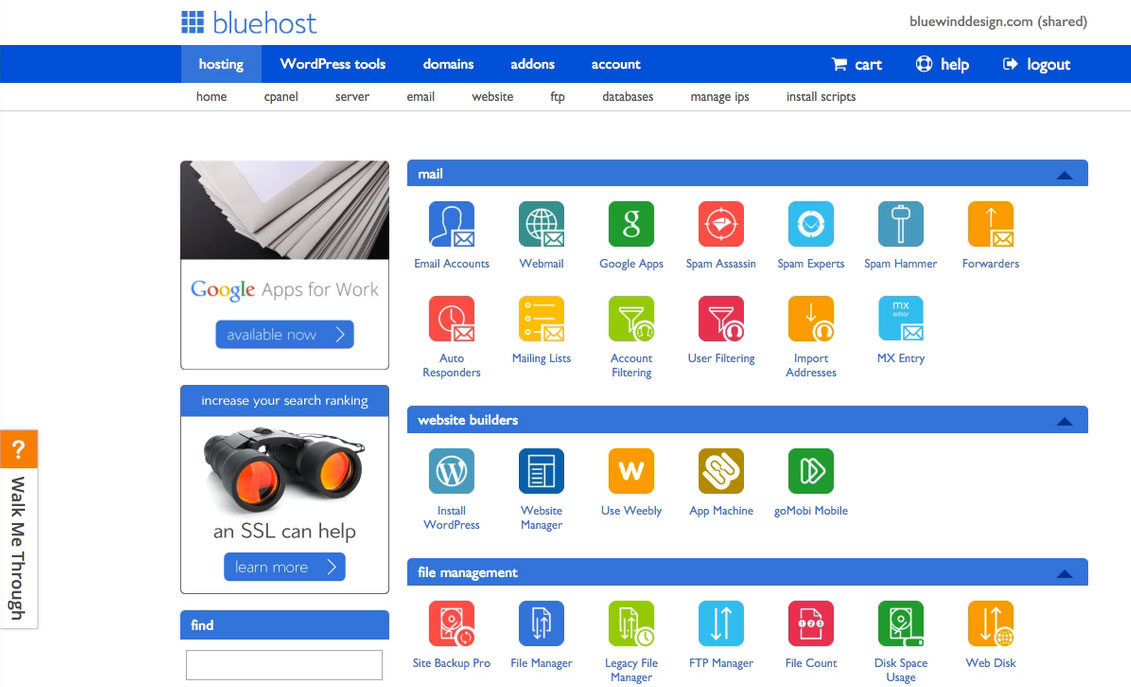 Bluehost a webhost that gives good support and has a good product