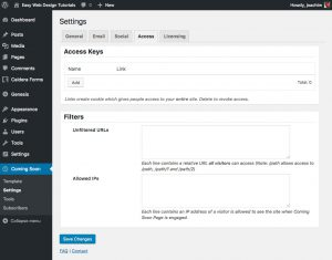 Coming Soon Page Elite Settings Access