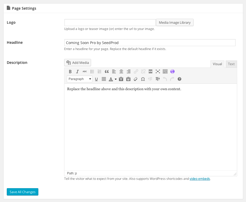 Coming-Soon-Pro-Settings-Page-Settings