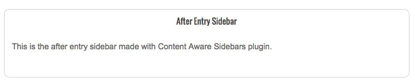 Content Aware Sidebars plugin Frontend