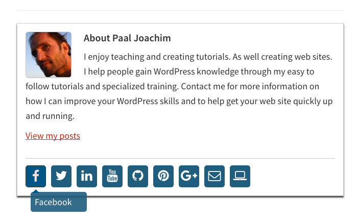 Custom profile author bio box social media tooltip WordPress