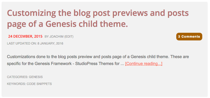Customize the post preview Genesis - Code Snippets