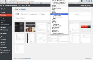 Enhanced Media Library plugin: Selecting a media category