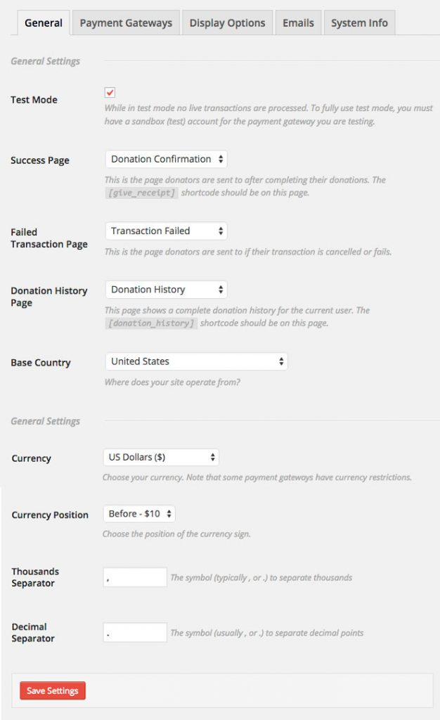 Give Donation WordPress plugin - Settings - General