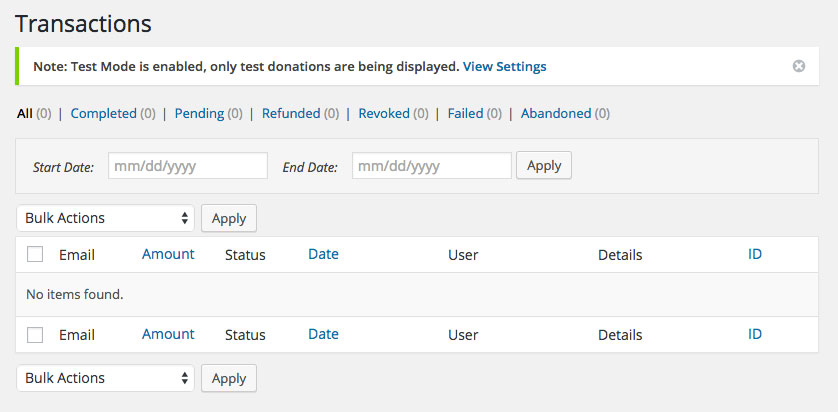 Give Donation WordPress PluginTransactions