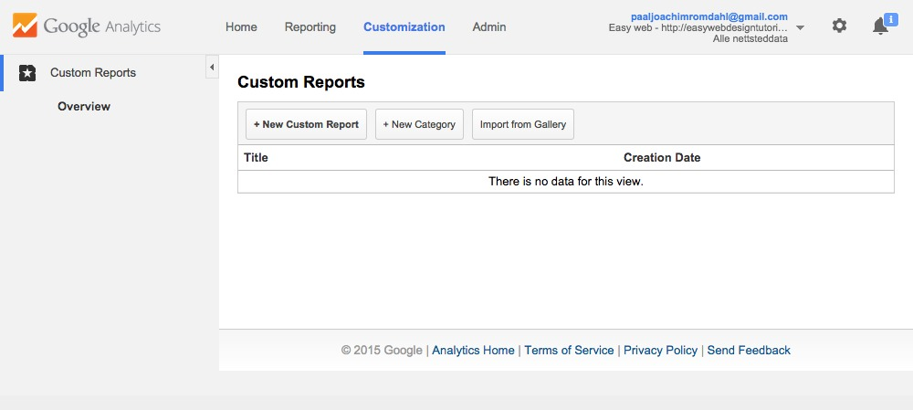 Google Analytics Customization screen