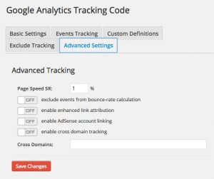 Google Analytics Dashboard WP Tracking Code Advanced Settings
