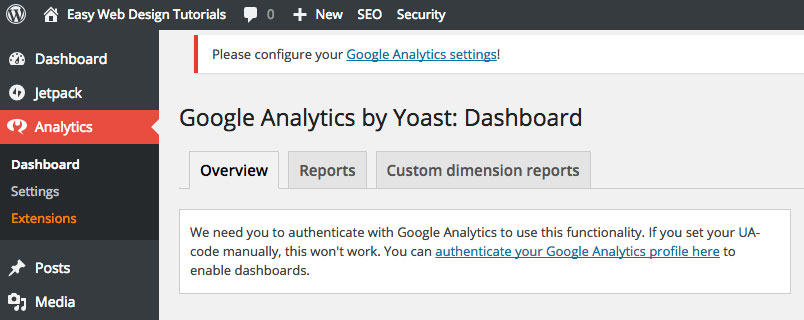 Google Analytics by Yoast Dashboard Overview