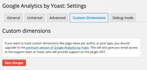 Google Analytics by Yoast Settings Custom Dimensions