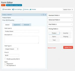 Gravity Forms - Form Editor Pricing Fields Product-Name