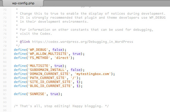 Multisite define sunrise code in the wp-config file.