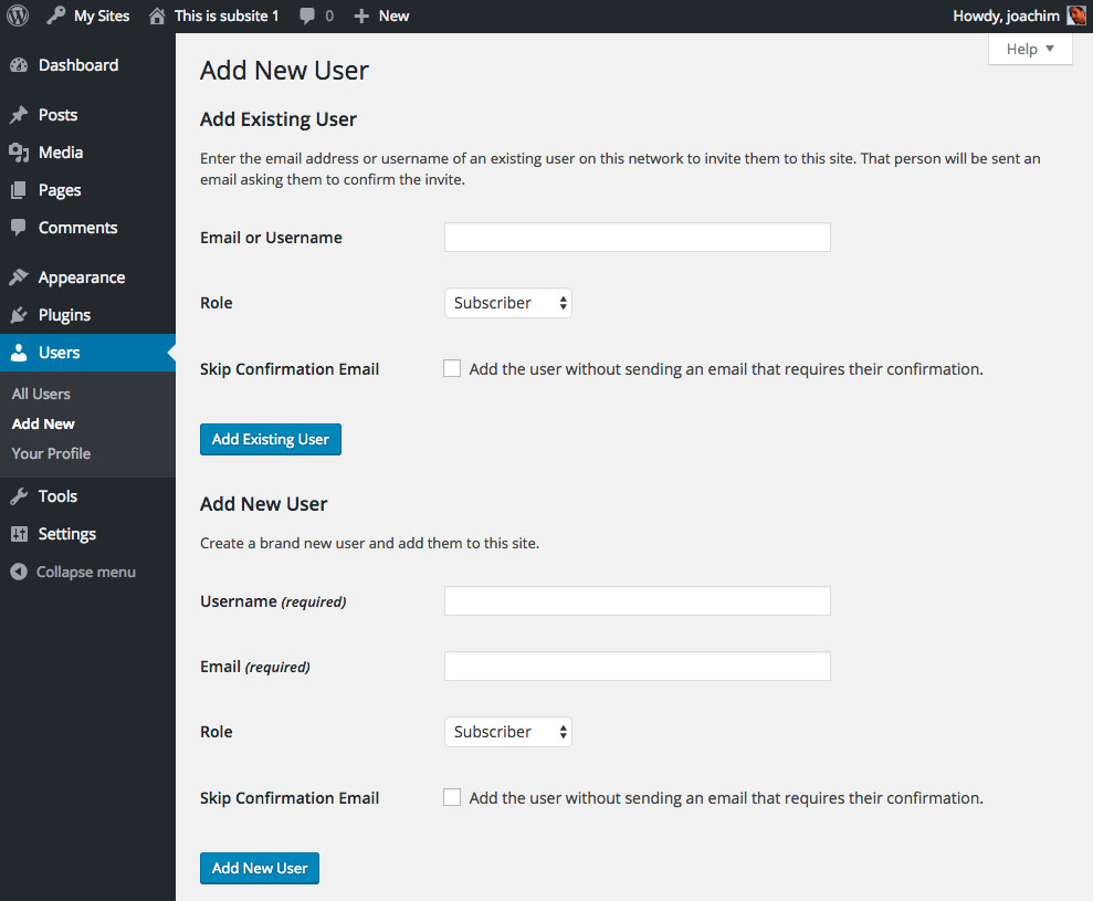 Network sub site Add New User WordPress