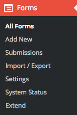Ninja Forms Sidebar options