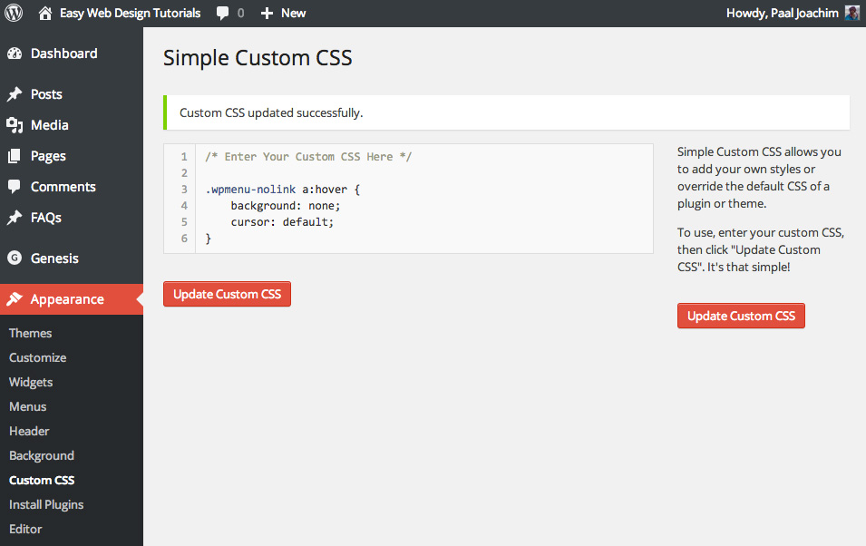 Simple Custom CSS WordPress Plugin
