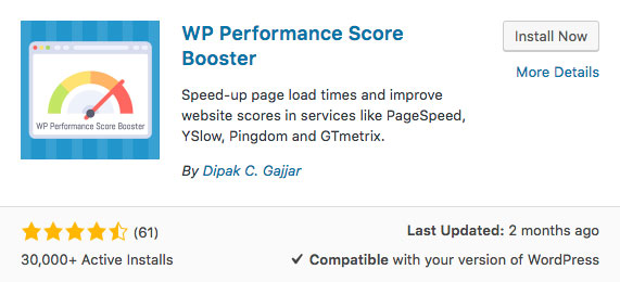 WP Performance Score Booster WordPress plugin