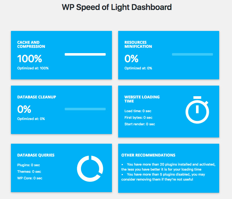 WP Speed of Light dashboard WordPress plugin