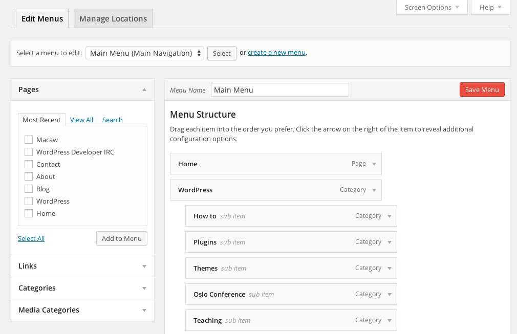 Managing menus in WordPress