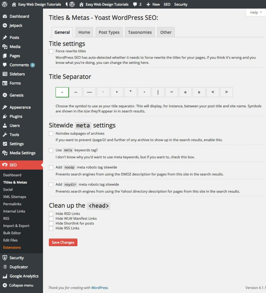 WordPress SEO Plugin Titles and Metas General