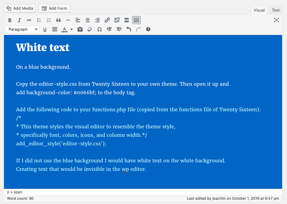 Adding a blue background to the WP editor