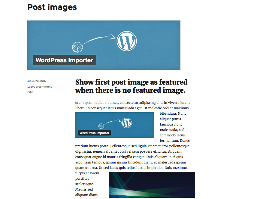 Show first post image as featured when there is no featured image.